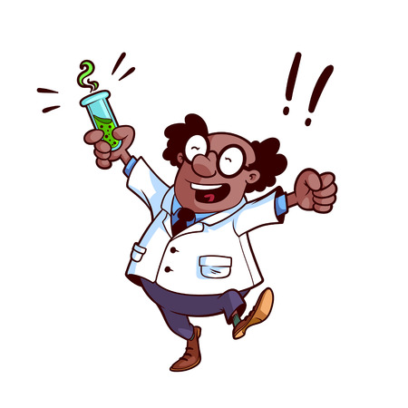 Happy professor in a white robe with a chemical flask in his hand Vector