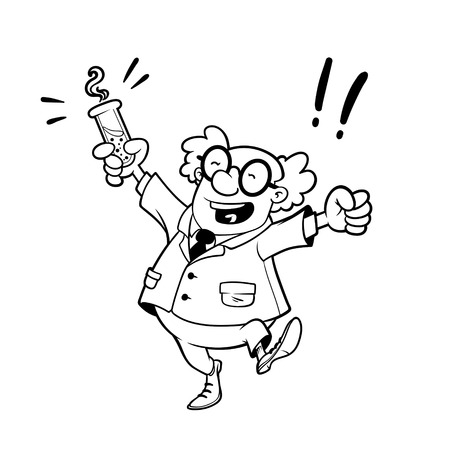 Happy professor with a chemical flask in his hand outlined on a white background Vector