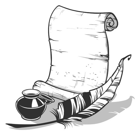 inkpot: scroll with feather and inkpot outlined on a white background Illustration