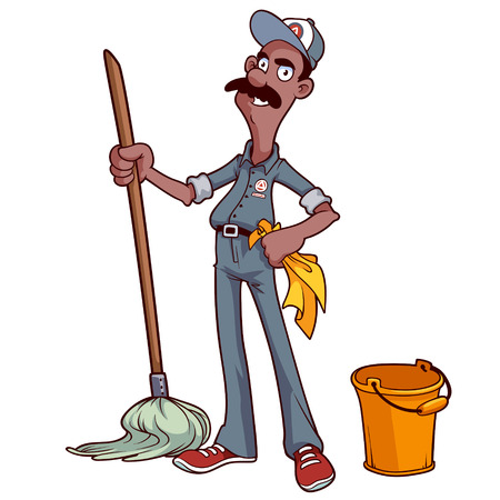 cartoon washing: Smiling cleaner with a mop and bucket