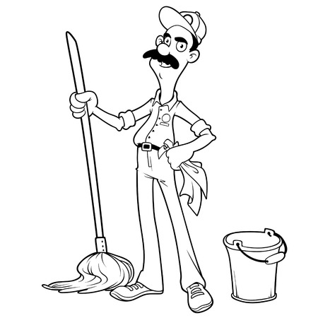 caretaker: Smiling cleaner with a mop and bucket outlined on a white background Illustration