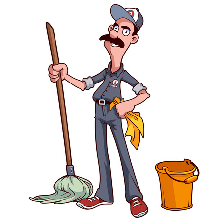 Smiling cleaner with a mop and bucket Vector