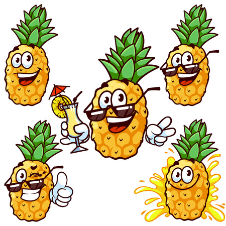 pineapple juice: Vector set cartoon character - Happy pineapple