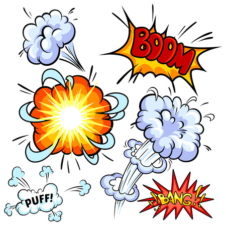 zapping: Set of comic explosion on a white background