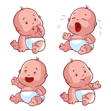 嬰兒: 嬰兒學步集,擔心寶寶哭鬧的嬰兒,快樂的寶寶,寶寶的微笑。矢量插圖漫畫在白色背景上。