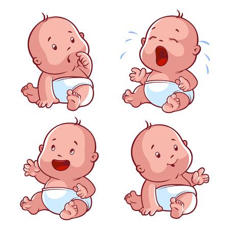 bebês: Conjunto da criança do bebê, com bebê preocupado, chorando, bebê, bebê feliz, bebê sorridente. Ilustração do vetor dos desenhos animados em um fundo branco.