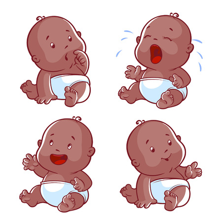 ebony: Baby toddler set, with worried baby, crying baby, happy baby, smiling baby. Vector Illustration cartoon on a white background. Illustration