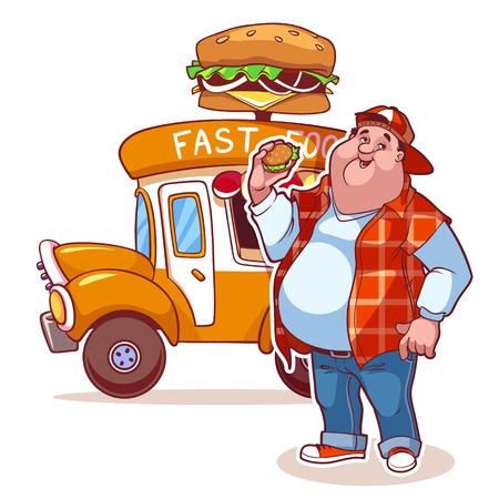 fat man: Cartoon fast-food car with the fat man