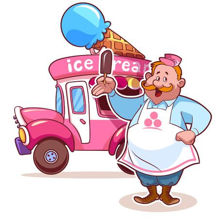 helado caricatura: Cartoon coche helado con el vendedor Vectores