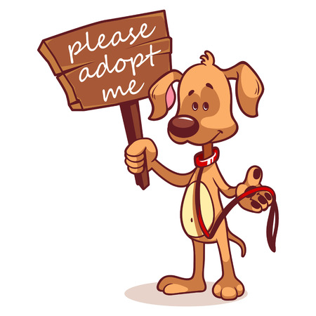 adopt: Character dog with a banner - Adopt me Illustration