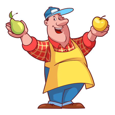 彼の手で果物とエプロンの陽気な農夫