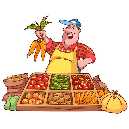 marchew: Wesoła warzyw sprzedawca przy ladzie z marchewką w ręku