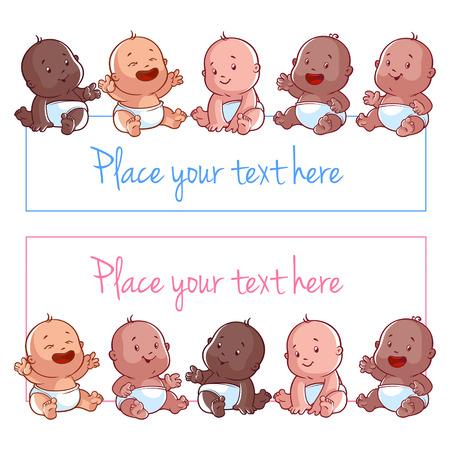 흰색 배경에 귀여운 작은 아기. 텍스트 입력을위한 빈 포스터 일러스트