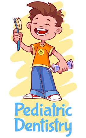 pediatric: Pediatric Dentistry. Poster with a boy with a toothbrush and toothpaste.