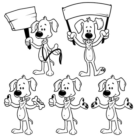 dog outline: Set of cartoon dog. Outline on a white background