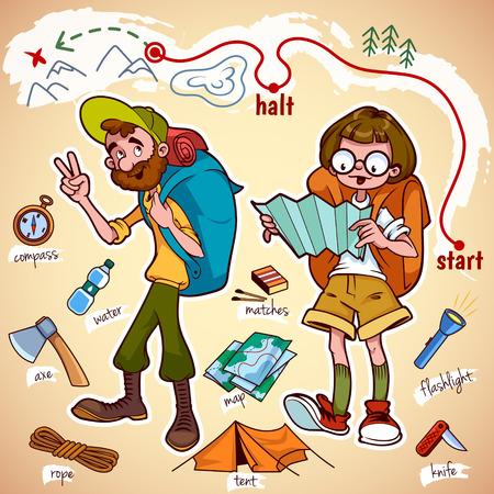 Conjunto de caracteres y cosas para caminata y campamento.