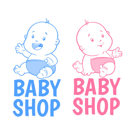 chit: Two baby shop. Isolated on a white background