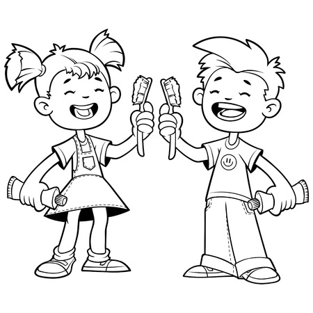 pediatric: Two cheerful child with toothbrushes. Outline on a white background