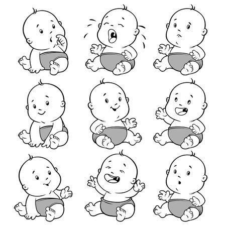 아기 유아를 설정합니다. 흰색 배경에 벡터 일러스트 레이 션 만화.