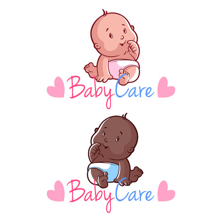 baby care: Two toddler. Vector illustration on a white background.