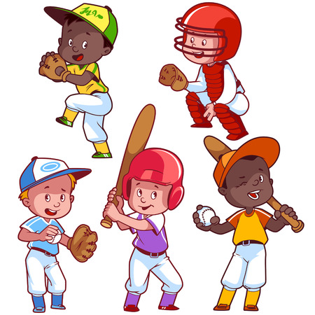 야구 만화 아이입니다. 흰색 배경에 벡터 클립 아트 그림입니다. 일러스트