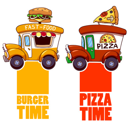 Cartoon fast-food car with a big hamburger and pizza on a white background. Illustration