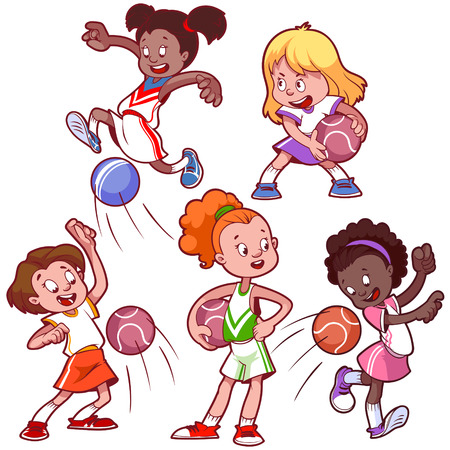 sport girl: Cartoon kids playing dodgeball. Vector clip art illustration on a white background.