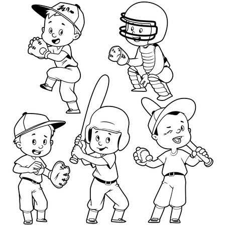 chit: Cartoon kids playing baseball. Vector clip art illustration on a white background.