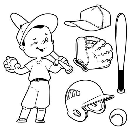 baseball: Cartoon boy playing baseball. Baseball equipment. Vector clip art illustration on a white background. Illustration