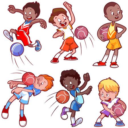 漫画の子供たちがドッジボールを再生します。白の背景にベクトル クリップ アート イラスト。