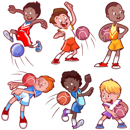 chit: Cartoon kids playing dodgeball. Vector clip art illustration on a white background.