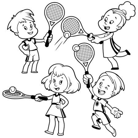Cartoon kids playing tennis. Vector clip art illustration on a white background. Çizim