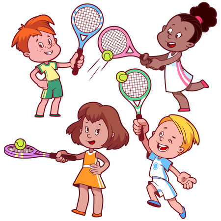 Cartoon kids playing tennis. Vector clip art illustration on a white background. Vettoriali