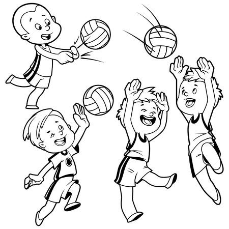 pelota de voley: Cartoon niños jugando voleibol. Ilustración del arte Vector de imágenes sobre un fondo blanco.