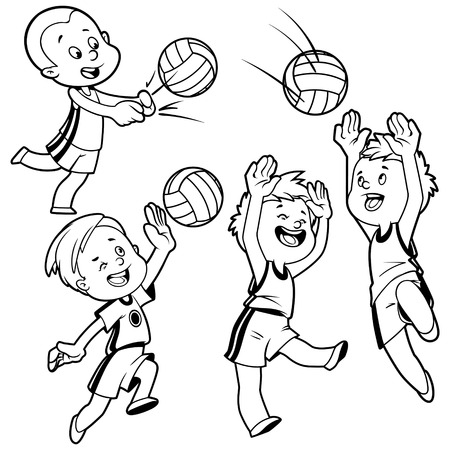 Cartoon kids playing volleyball. Vector clip art illustration on a white background.