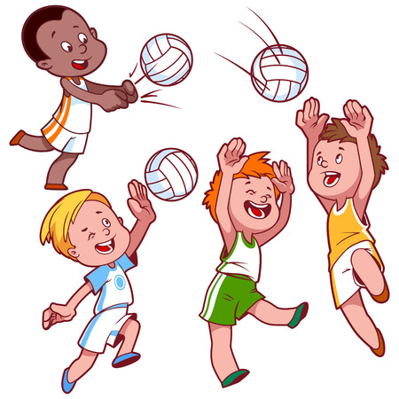 chit: Cartoon kids playing volleyball. Vector clip art illustration on a white background.