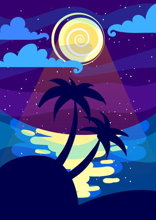 eventide: Night landscape with the moon and palms. A4 proportions.