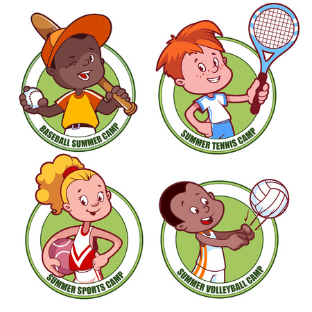 chit: Kids sports camp. Vector illustration on white background.