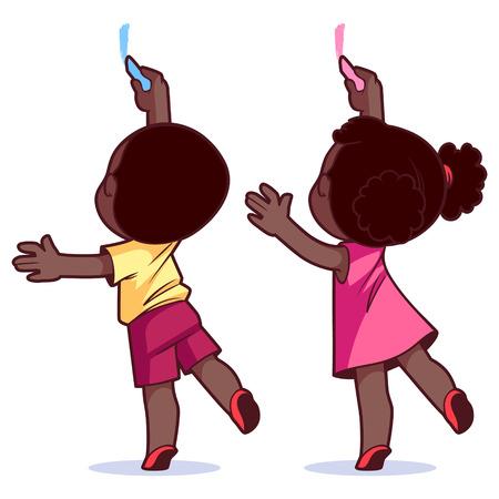 banner infantil: Los niños dibujan en la pared. Ilustración del vector en un fondo blanco.