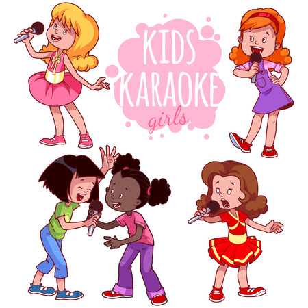 Cartoon children sing with a microphone. Vector clip art illustration on a white background.