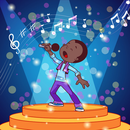 sing: Cartoon boy singing with a microphone. Vector clip art illustration Illustration