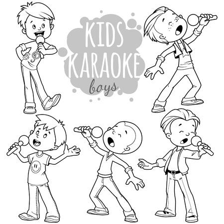 漫画の子供たちは、マイクを使って歌います。白の背景にベクトル クリップ アート イラスト。  イラスト・ベクター素材
