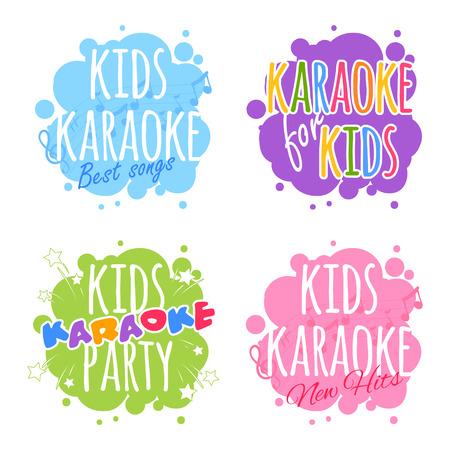 아이들은 로고를 노래방. 흰색 배경에 벡터 클립 아트 그림입니다. 일러스트