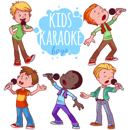 offspring: Cartoon children sing with a microphone. Vector clip art illustration on a white background.