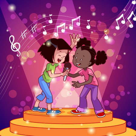 Cartoon girls singing with a microphone. Vector clip art illustration