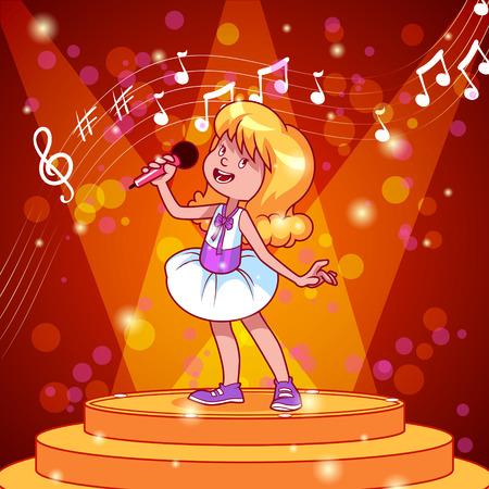 gente cantando: Chica de dibujos animados cantando con un micr�fono. Vector de im�genes predise�adas ilustraci�n Vectores