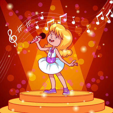 Cartoon girl singing with a microphone. Vector clip art illustration Illustration