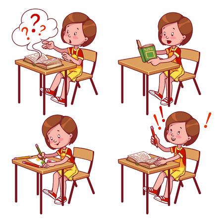book mark: Cute schoolgirl behind a school desk. Vector illustration on a white background.