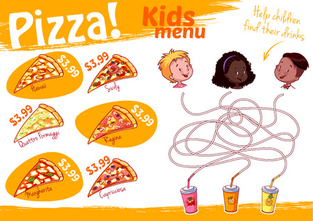 Kids Menu pizza with maze game. Vector illustration A4 size. Template menu. 矢量图像