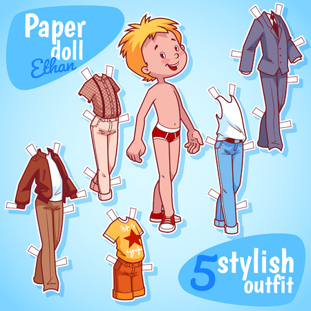 Very cute paper doll with five stylish outfits. Blond boy. Vector illustration on a white background.